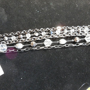 The Limited Gunmetal Chain Crystals Multi Bracelet
